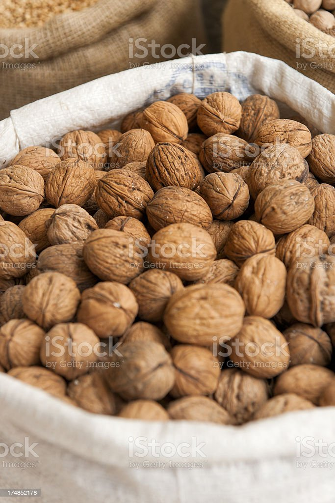 walnuts in bag royalty-free stock photo