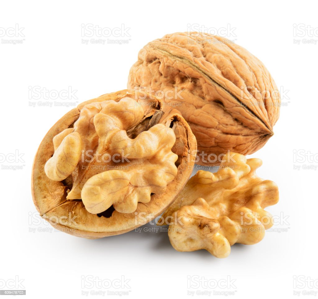Walnuts isolated on white background. With clipping path. stock photo