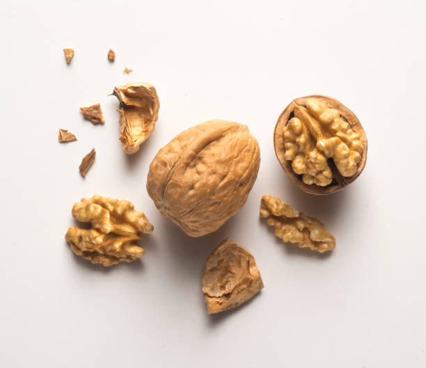 walnuts whole and open a whole walnut, an open walnut and other pieces walnut stock pictures, royalty-free photos & images