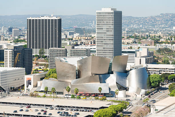 Walt Disney Concert Hall aerial view stock photo