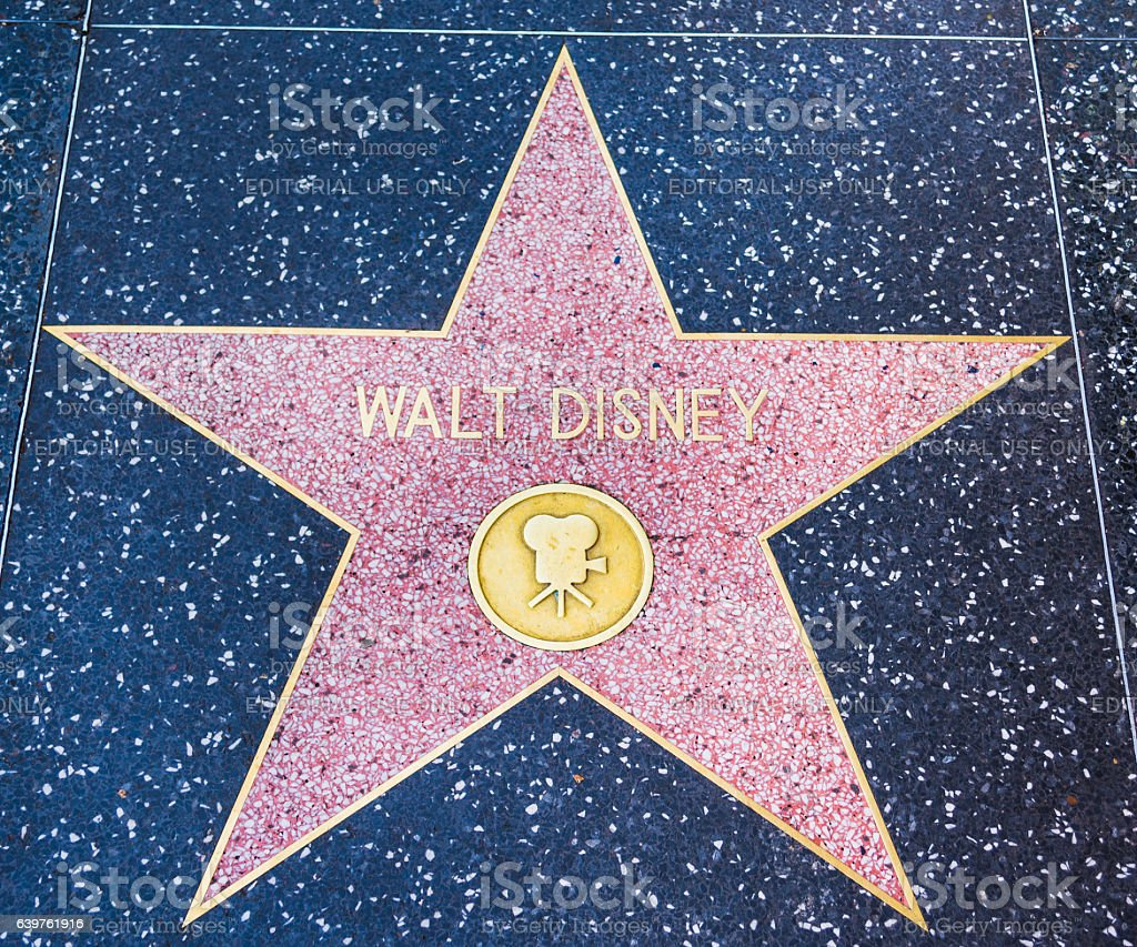 Walt Disney star in Hollywood walk of fame stock photo