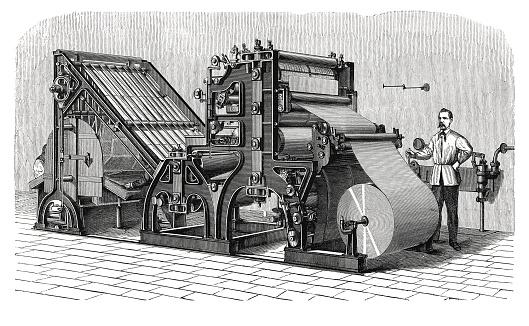 Walter printing press (antique engraving)