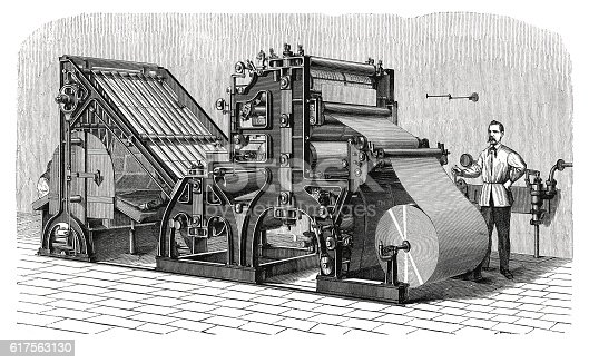 19-th century illustration of the Walter press, the pioneer of modern newspaper printing-presses. Published in