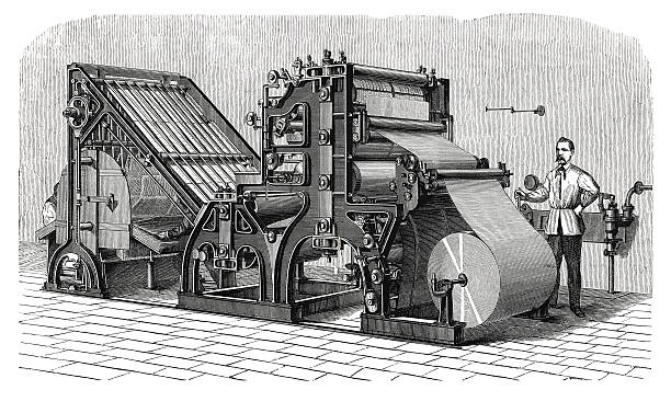 walter printing press (antique engraving) - industrial revolution stock pictures, royalty-free photos & images