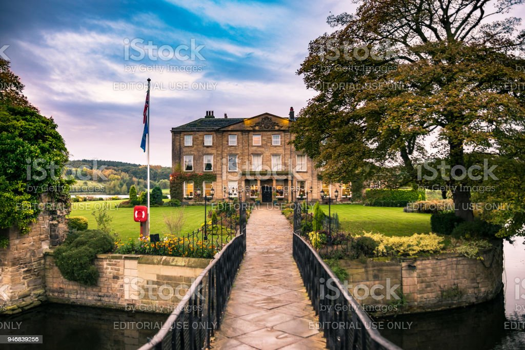 Walton Hall in a scenic setting of rolling parkland with its own lake. stock photo