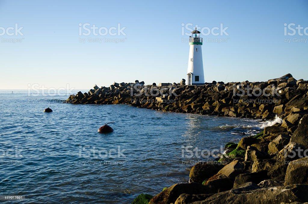 Walton Lighthouse and breakwater, Santa Cruz California stock photo