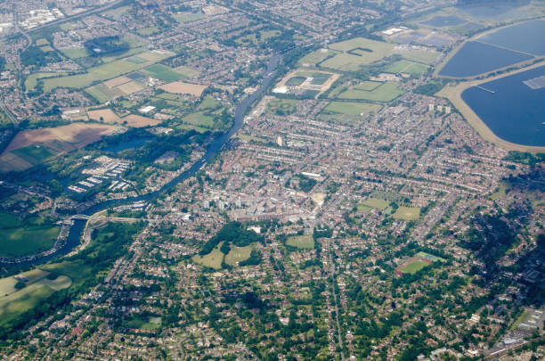 Walton-On-Thames, aerial view stock photo