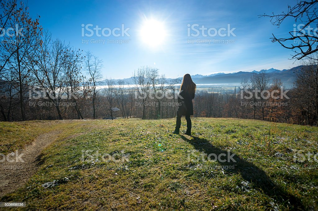 Wanderer above the sea of fog stock photo
