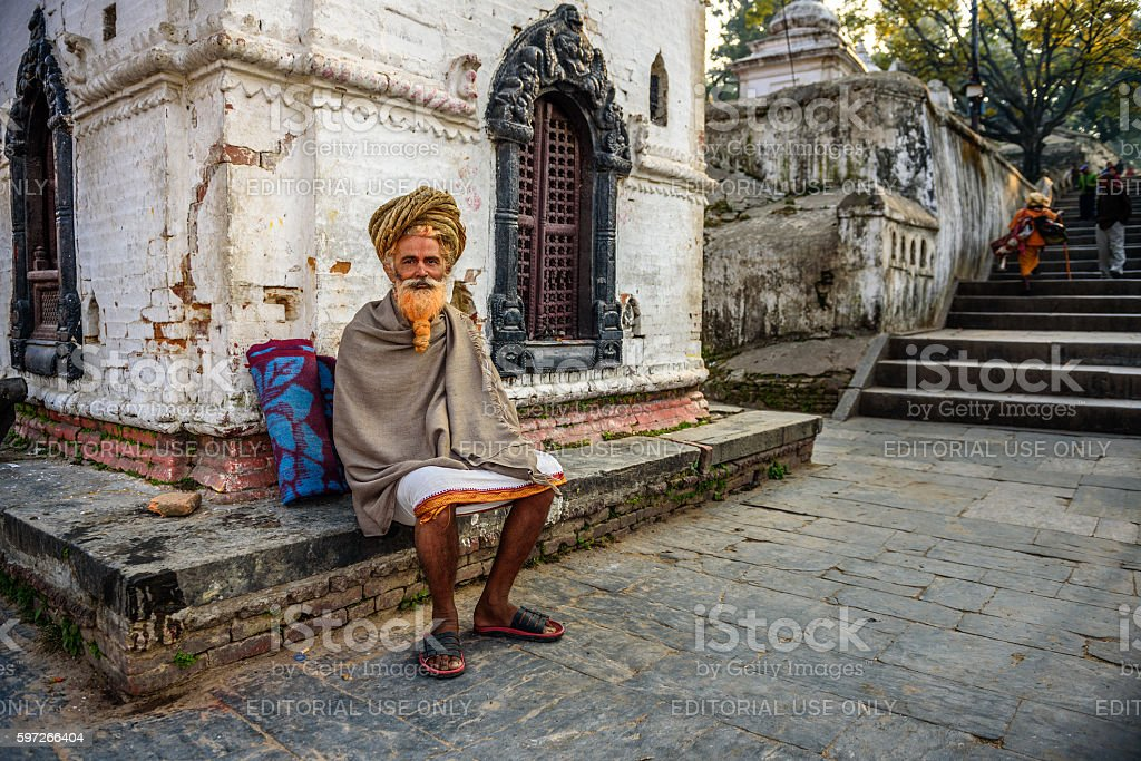 Wandering  sadhu baba (holy man) in ancient Pashupatinath Temple royalty-free stock photo