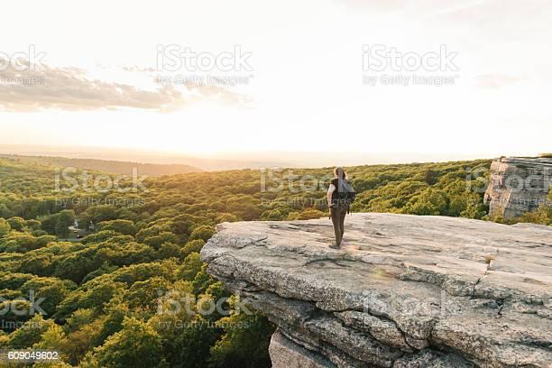 Photo of Wanderlust Adventure Hiking Woman Enjoys Sunset Catskills Mountain View NY