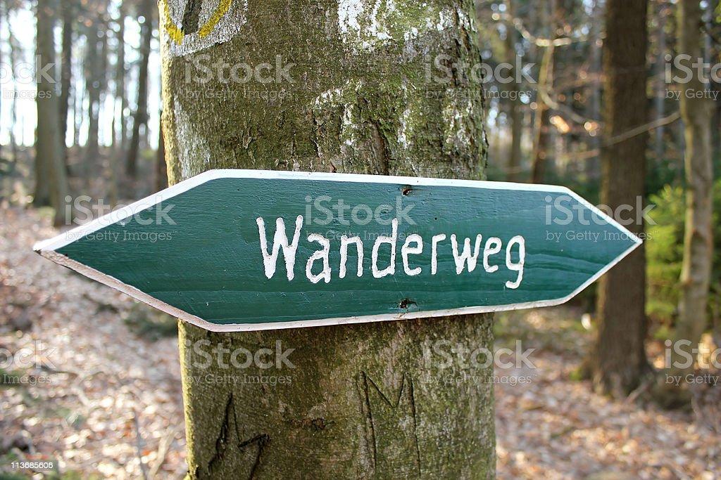 Wanderweg (hiking path) stock photo