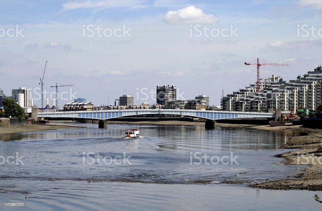 Wandsworth Bridge over River Thames stock photo