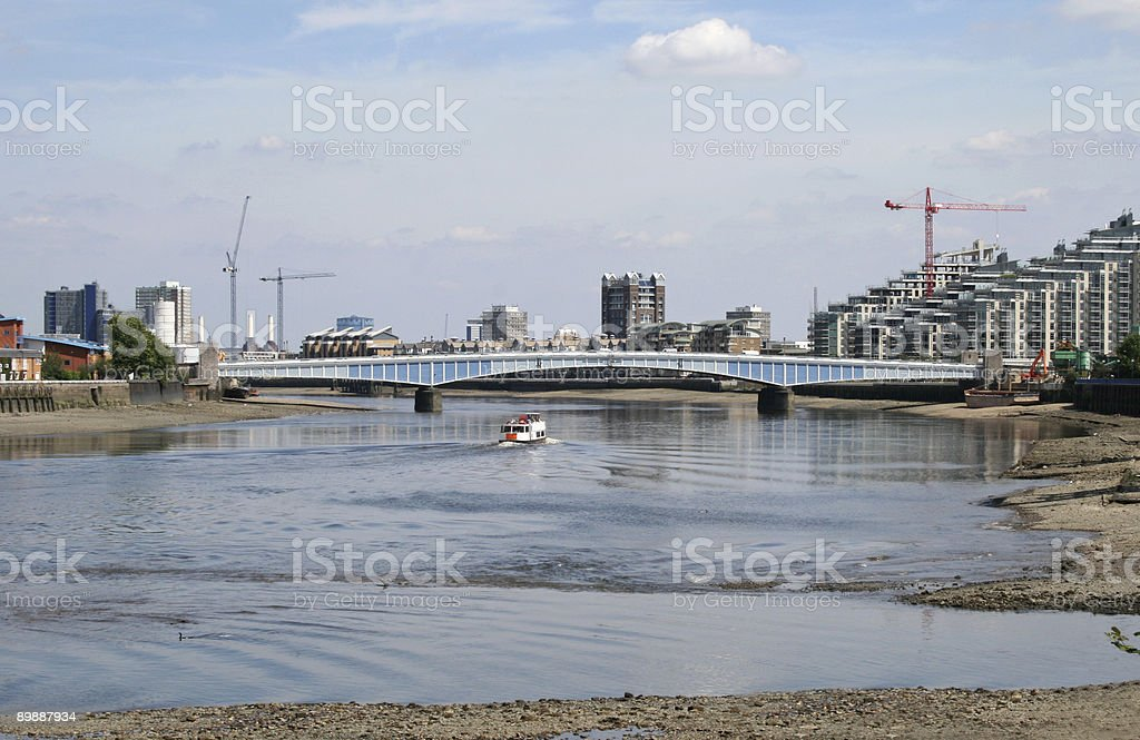 Wandsworth Bridge over the River Thames royalty-free stock photo
