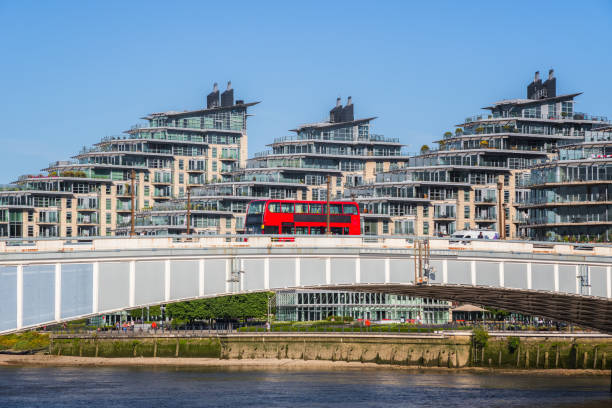Wandsworth bridge with riverside apartments in the background in London stock photo
