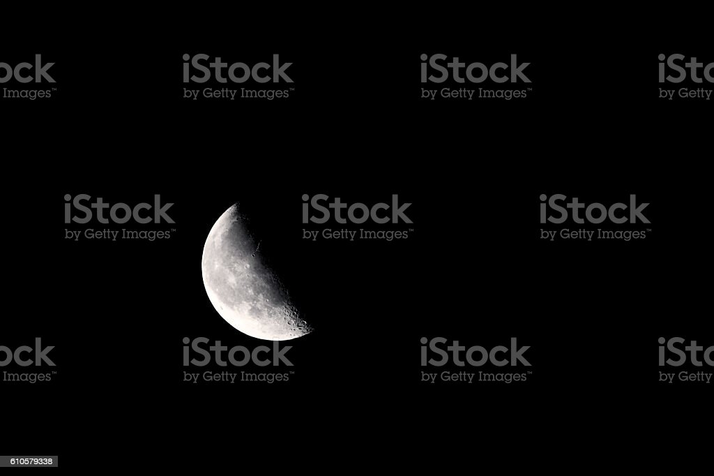 Waning Gibbous Moon Lunar Craters stock photo