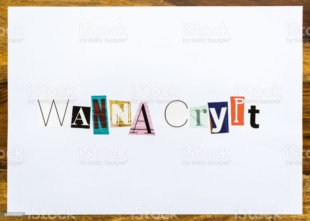 Wanna Crypt - note on desk stock photo