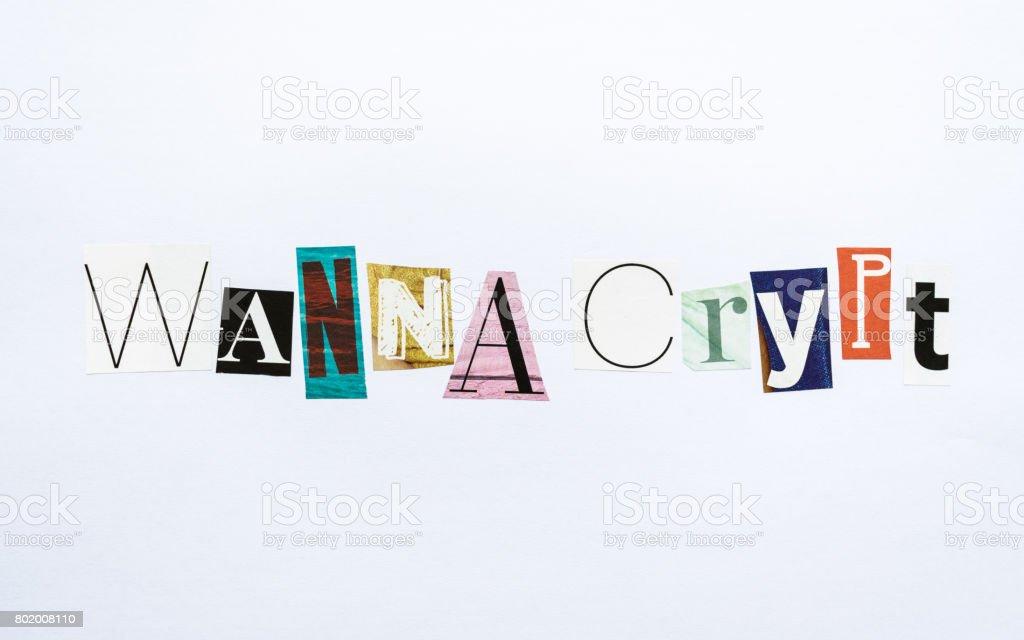 Wanna Crypt - note stock photo