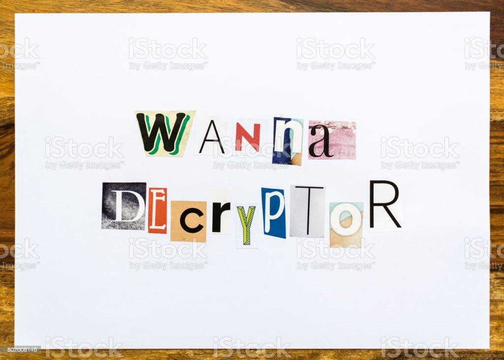 Wanna Decryptor - note on desk stock photo