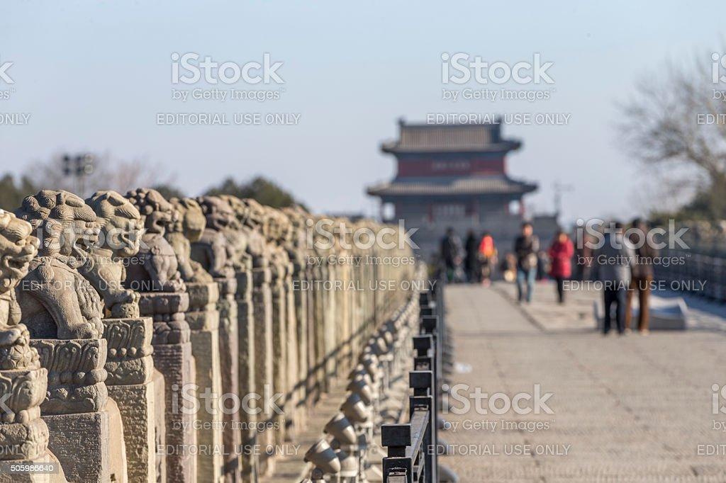 Wanping Fortress and  Marco Polo Bridge, Beijing, China stock photo