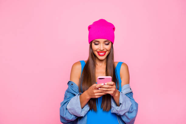 i want like on instagram! crazy subscriber addicted people person concept. close up photo portrait of attractive funny cheerful toothy lady using holding cellular in hand isolated bright background - influencer стоковые фото и изображения
