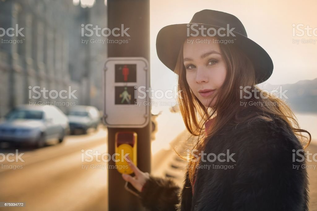 I want to go across the street stock photo