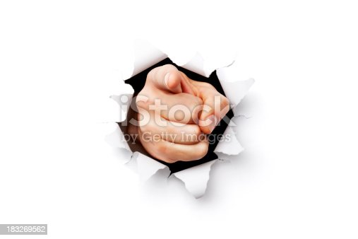 I want you finger coming throgh torn paper.Please note: Clipping path is included in this file (only XXXL version)
