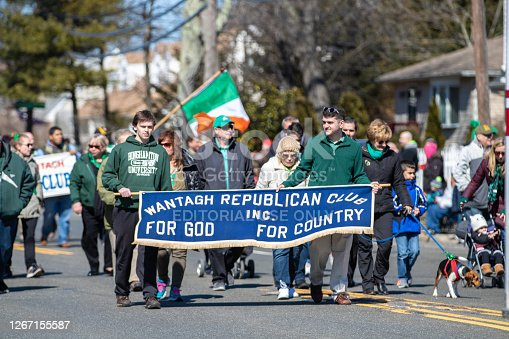 Wantagh, New York - March 17, 2019 : Wantagh Republican club marching in the first Annual St. Patrick's Day Parade down Wantagh Ave. Long Island