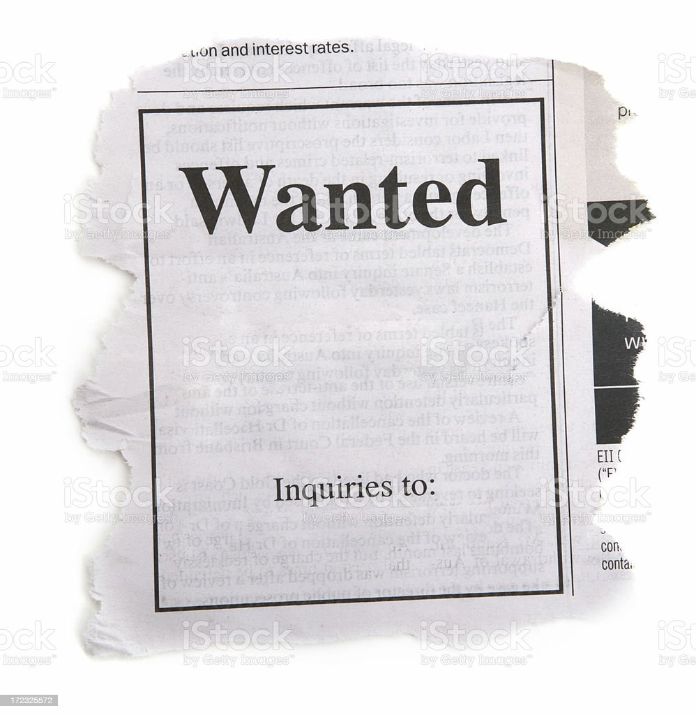 Wanted Ad from Newspaper stock photo