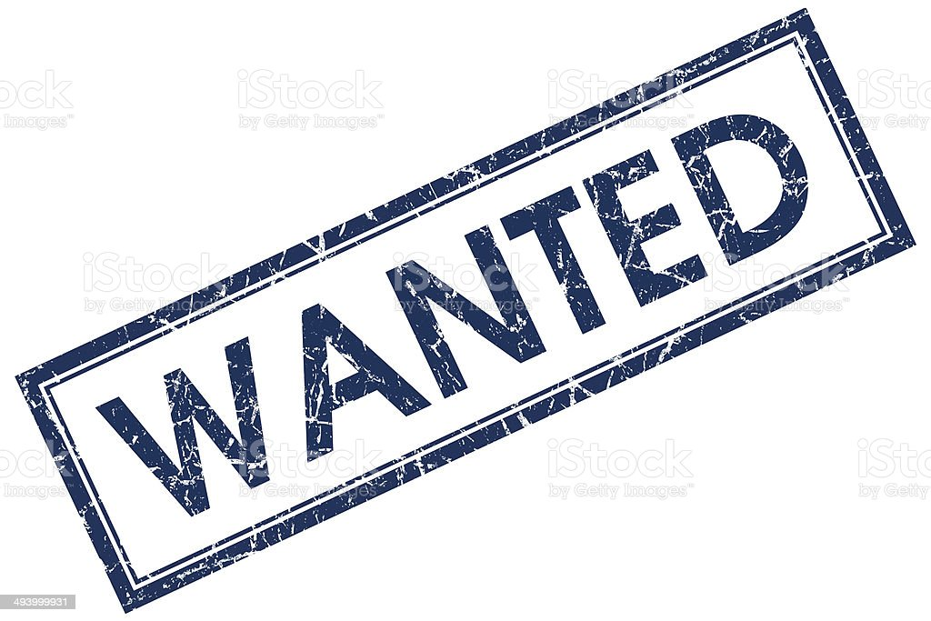 wanted blue square stamp stock photo