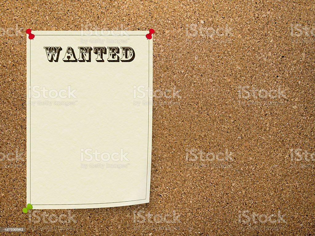 Wanted notice on office bulletin board, corkboard stock photo