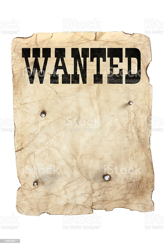 wanted poster and bullet holes royalty-free stock photo