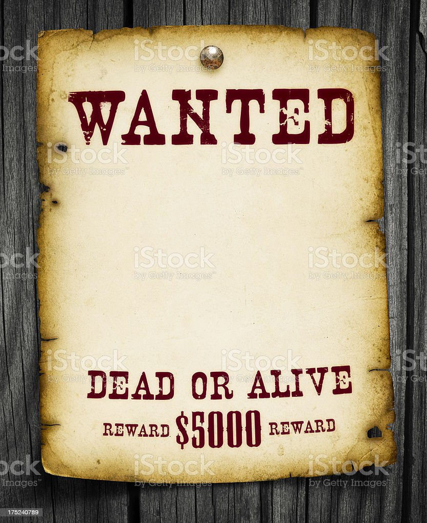 Wanted Poster on Wood stock photo