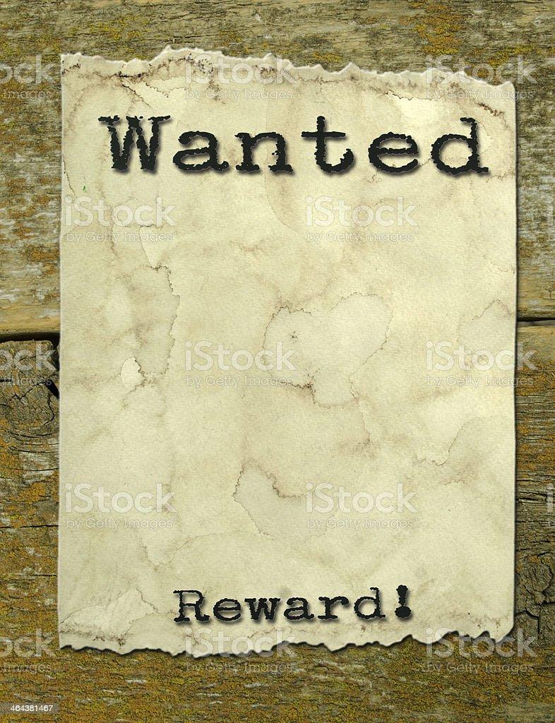 Wanted Poster Reward royalty-free stock photo
