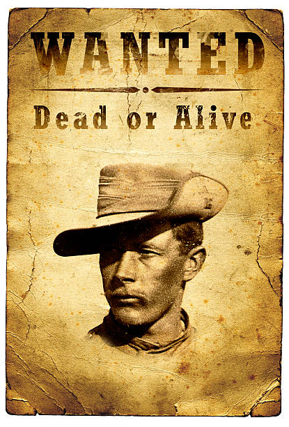 Wanted Poster Wild West Outlaw An old wanted poster from the American Wild West for an outlaw bandit stock pictures, royalty-free photos & images