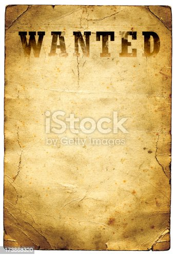 An old wanted poster from the American Wild West