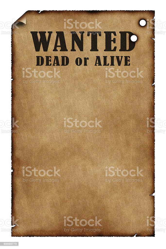Wanted Poster with Bullet Holes stock photo