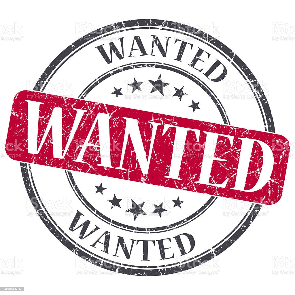 Wanted red grunge round stamp on white background stock photo