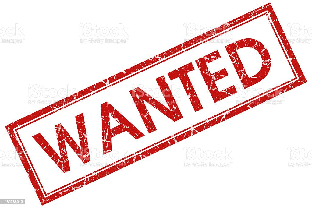 wanted red square stamp stock photo
