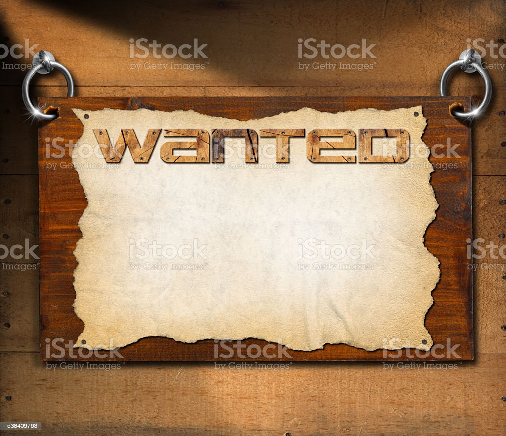 Wanted Signboard on Wooden Wall stock photo