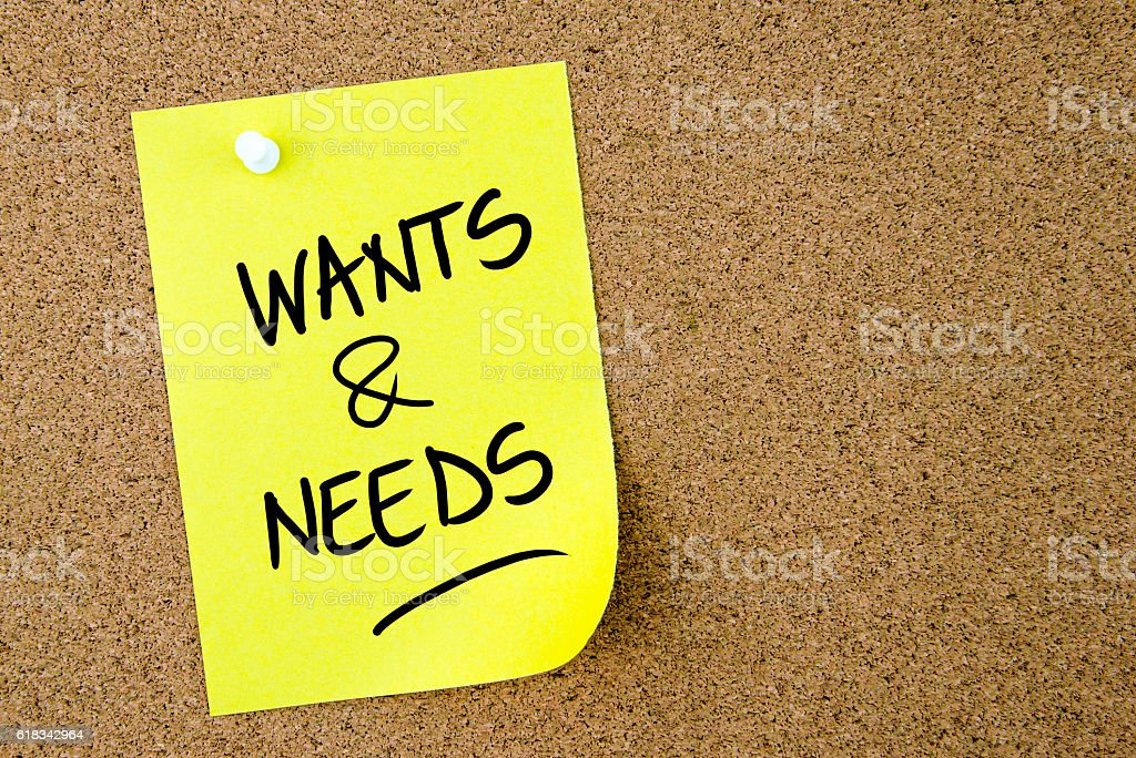 Wants and Needs text written on yellow paper note stock photo