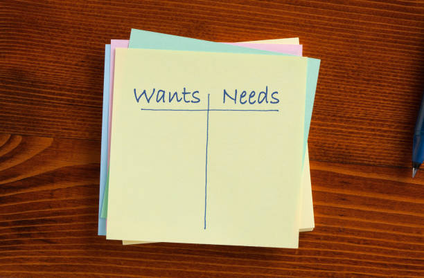 Wants Needs Concept stock photo
