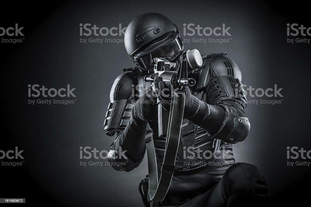 War Against Terrorist Soldier in Action stock photo