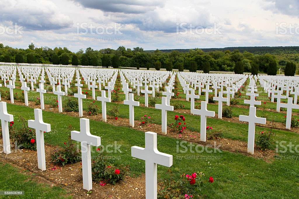 War cemetery Verdun z białych i czerwonych róż przecina – zdjęcie