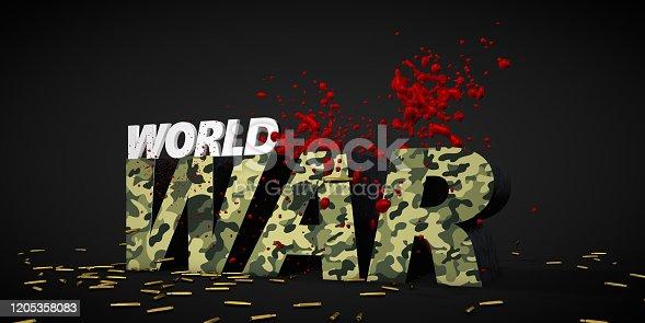 486568999istockphoto war concept camouflage texture 3d render text 1205358083