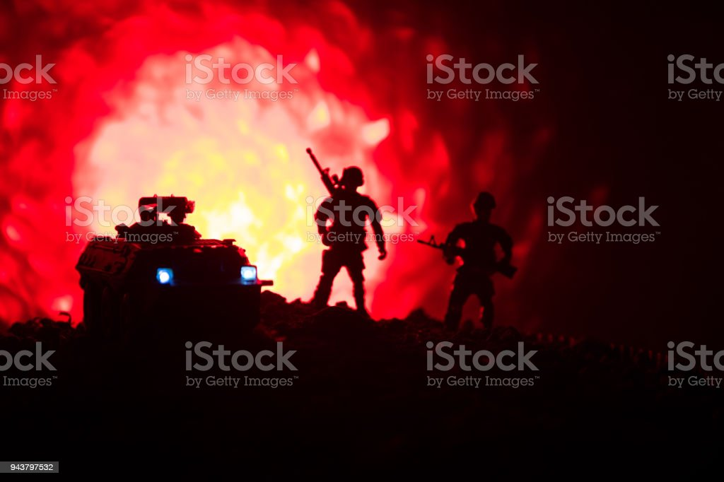 War Concept Military Silhouettes Fighting Scene On War Fog Sky