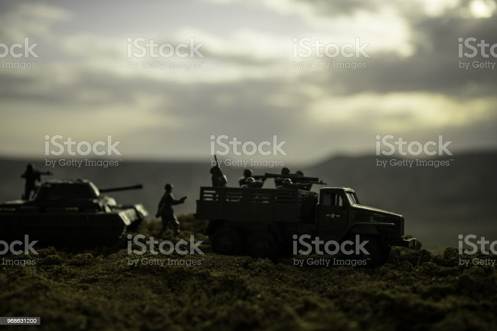 War Concept Military Silhouettes Fighting Scene On War Fog Sky Background  World War Soldiers Silhouettes Below Cloudy Skyline At Night Attack Scene