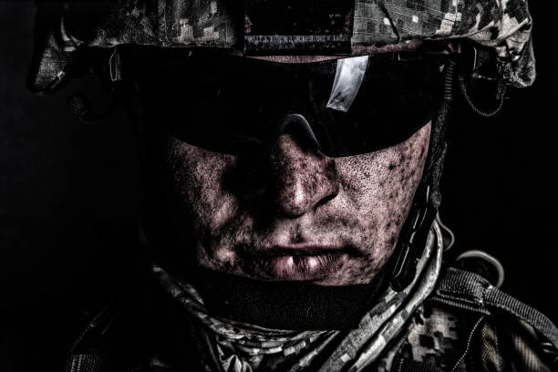 War conflict combatant after battle or raid stock photo