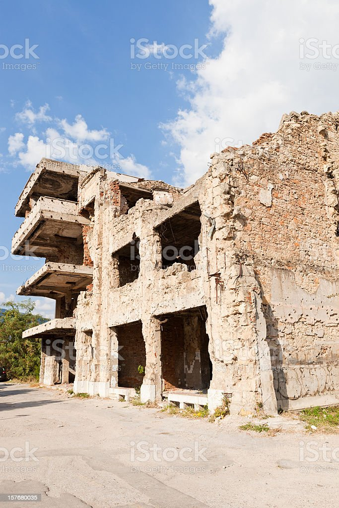 War Damaged Building In Mostar, Bosnia and Hercegovina stock photo