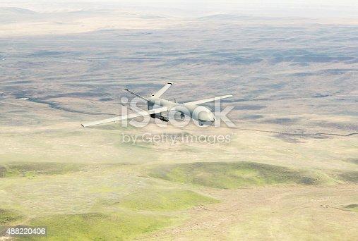 533534481 istock photo War drone flying over the desert 488220406