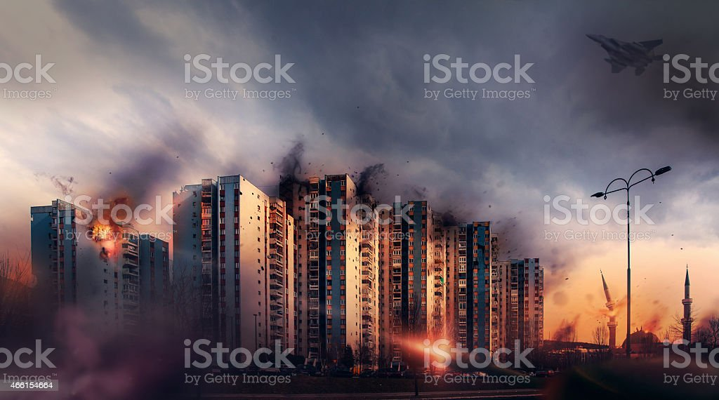War in the city. Bombardment civilian districts stock photo